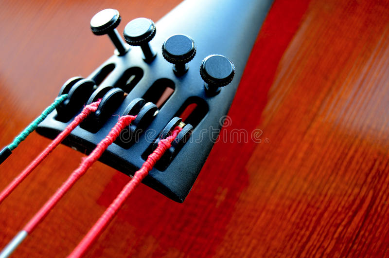 Cello Detail. Musical Close-Up Of Strings And Tailpiece Of A Cello With Copy Space stock photography