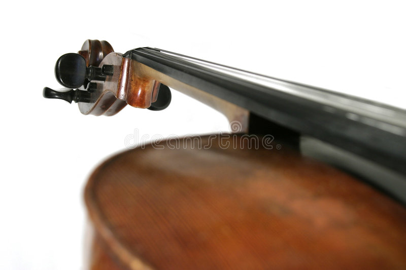 Cello Detail. A cello isolated on white taken from a strong angle. The scroll is in focus stock photography