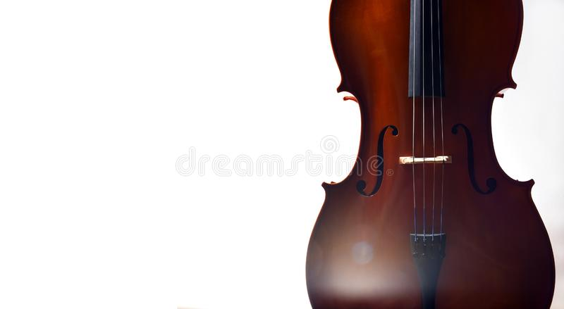 Cello in dramatic light. With empty space royalty free stock photos
