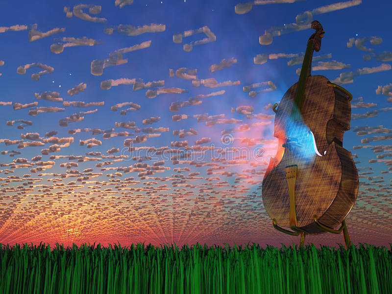 Cello emits light vector illustration