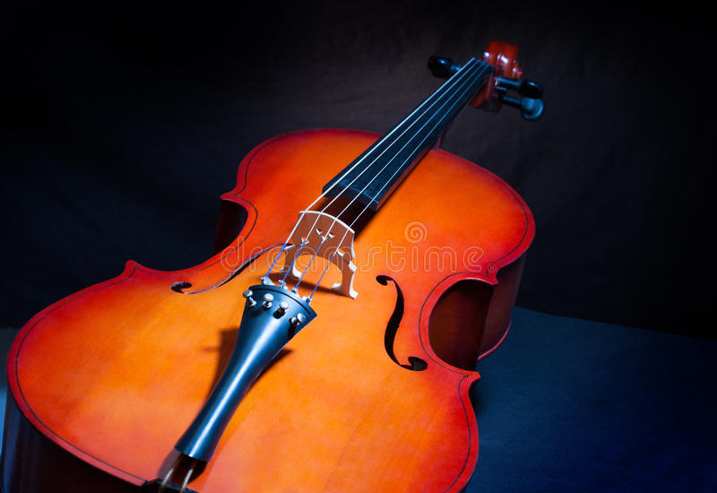 Cello in full length and vertical position. Beautiful violoncello in full length and vertical position on the black background royalty free stock images