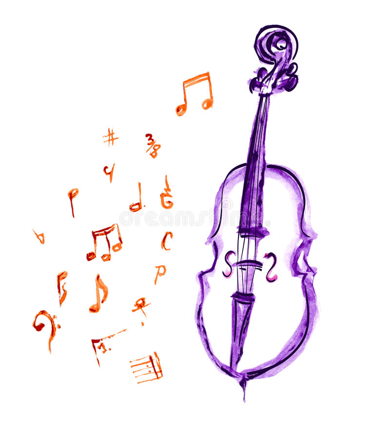 Cello and musical notes stock illustration