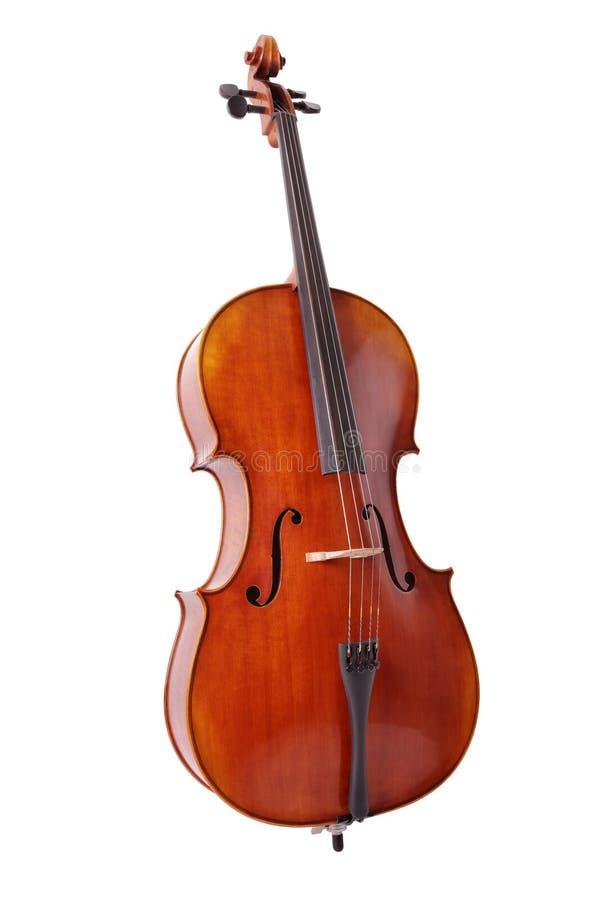 Cello op witte achtergrond wordt geïsoleerd die royalty-vrije stock afbeelding