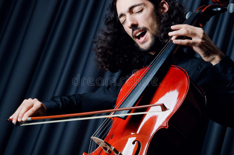 Download Cello Player During Performance Stock Image - Image: 22335677