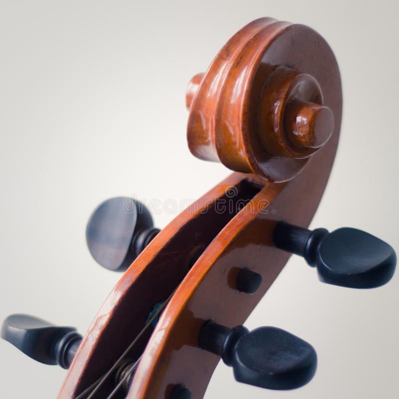 Cello Scroll And Tuning Pegs stock images