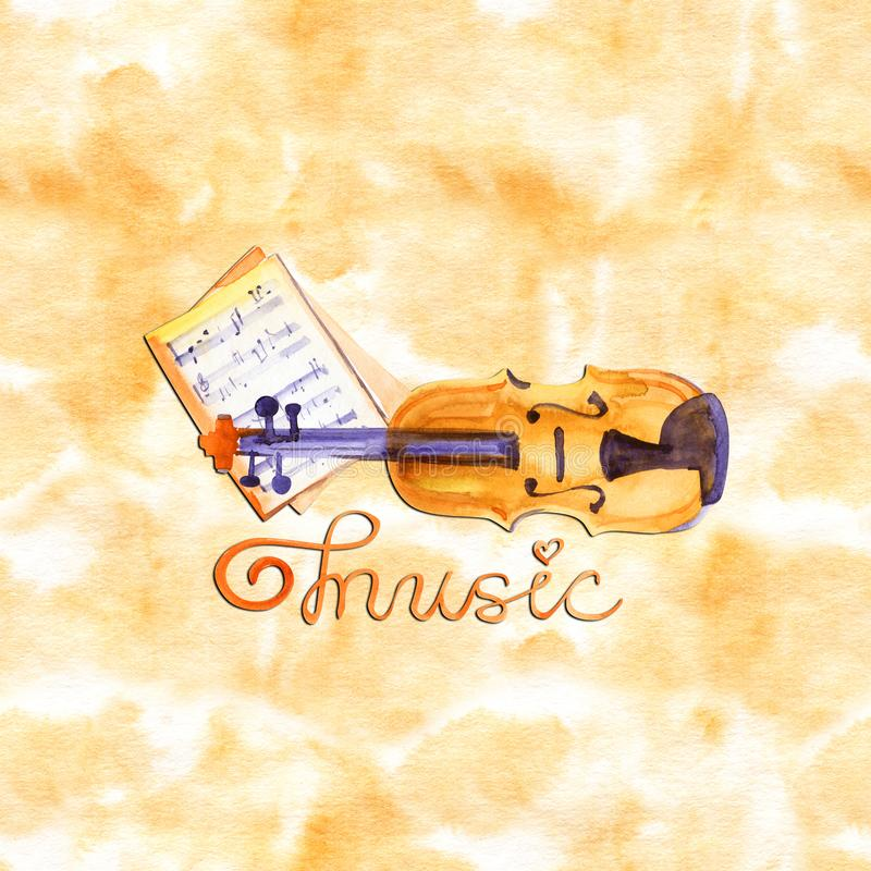 Cello in watercolor style. Vintage hand drawn illustration royalty free illustration