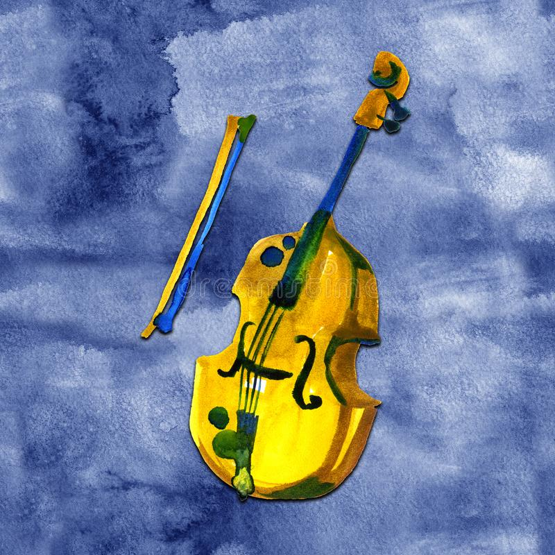 Cello in watercolor style. Vintage hand drawn violoncello illustration on blue background stock illustration