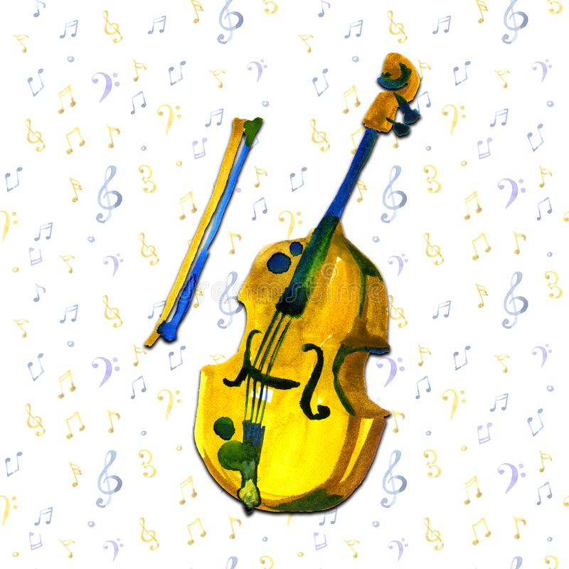 Cello in watercolor style. Vintage hand drawn violoncello illustration on notes background. vector illustration
