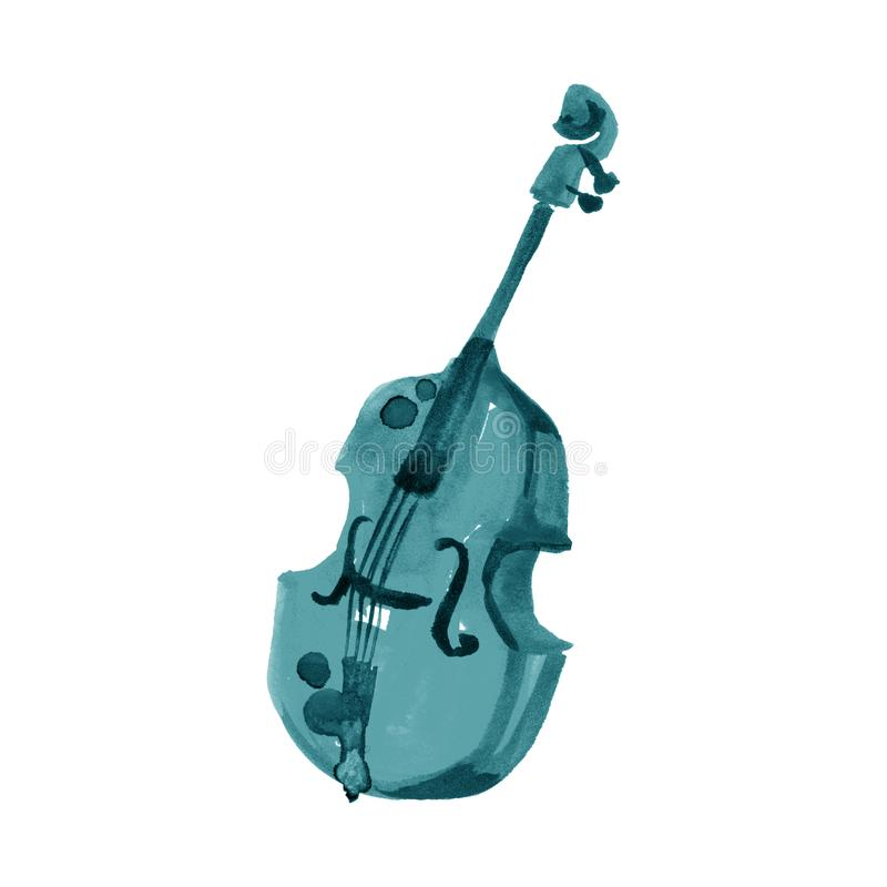 Cello in watercolor style. Vintage hand drawn turquoise violoncello illustration vector illustration
