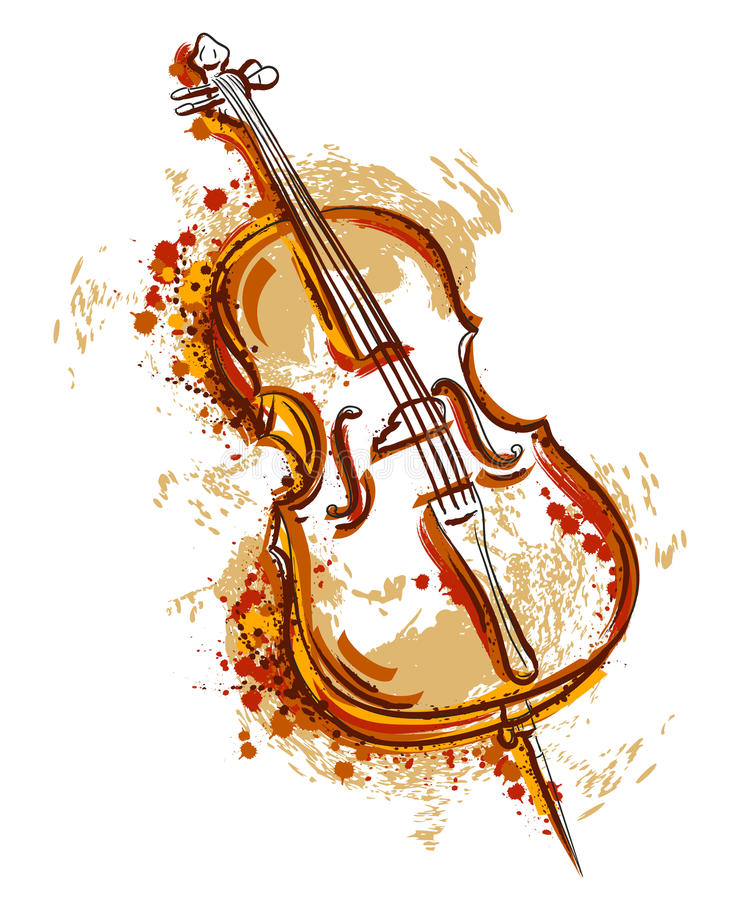 Cello in watercolor style. stock illustration