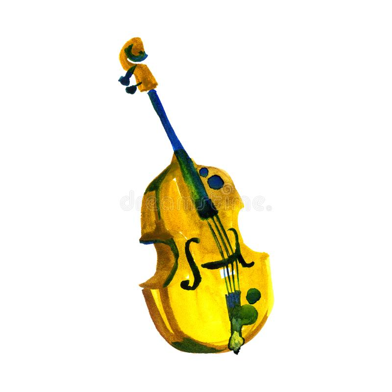 Cello in watercolor style. Vintage hand drawn violoncello illustration royalty free illustration