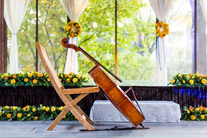 Cello at wedding. A cello at a indoor wedding royalty free stock photos