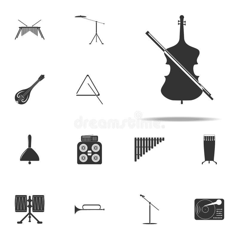 Celloikone Musik-Instrumentikonen-Universalsatz für Netz und Mobile lizenzfreie abbildung