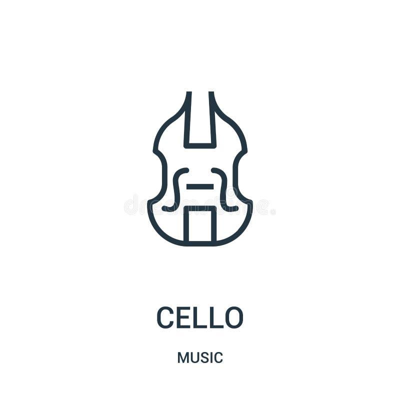 Celloikonenvektor von der Musiksammlung Dünne Linie Celloentwurfsikonen-Vektorillustration vektor abbildung