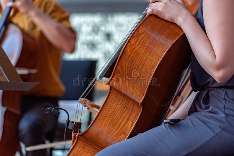 Cellostraßenspieler-Frauenausführender lizenzfreie stockfotografie