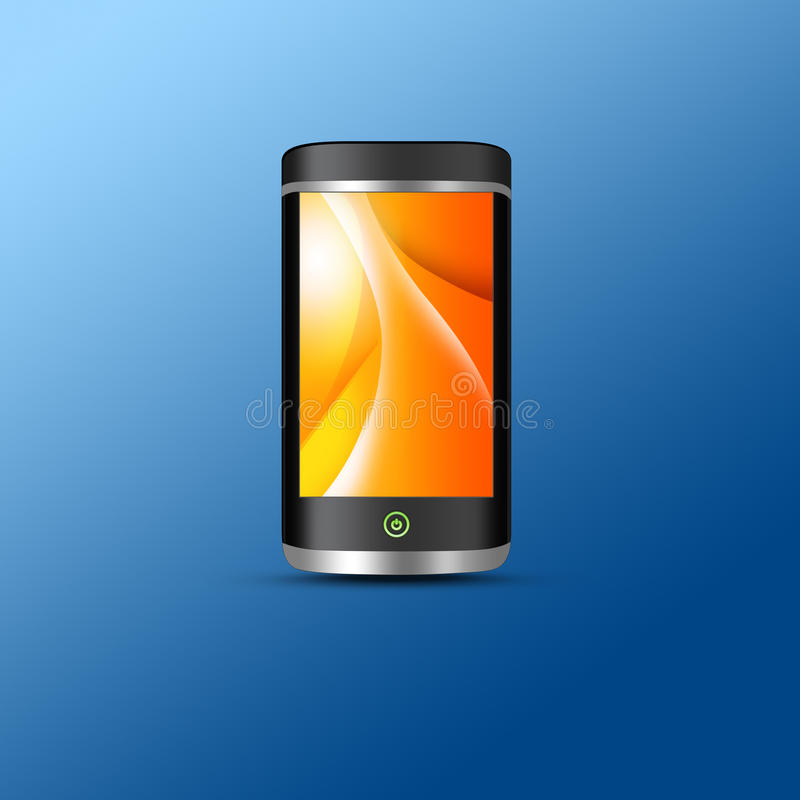 Cellphone. Digital cellphone rendered on a gradient blue background vector illustration
