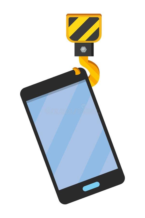 Cellphone with crane hook. Icon cartoon vector illustration graphic design stock illustration