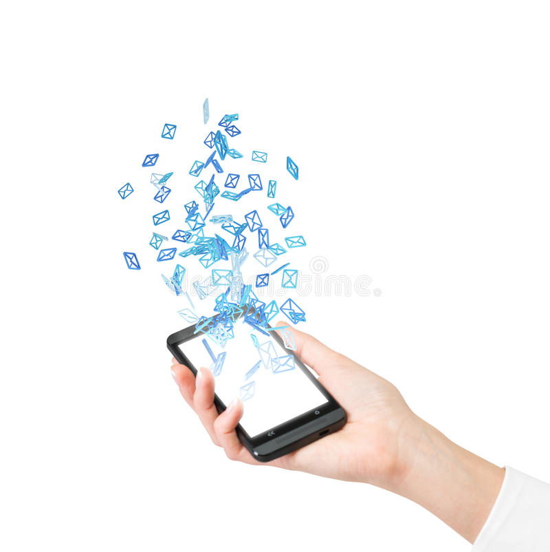 Cellphone with flying email royalty free stock images