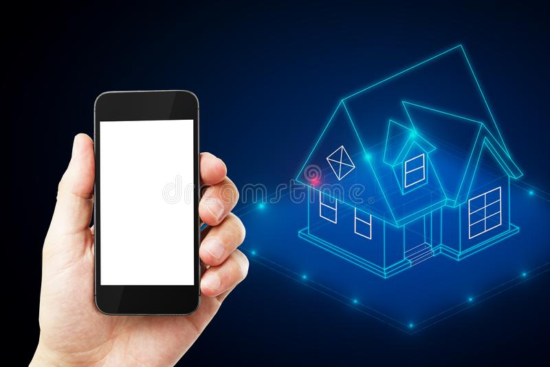 Cellphone met slim huis royalty-vrije stock afbeeldingen