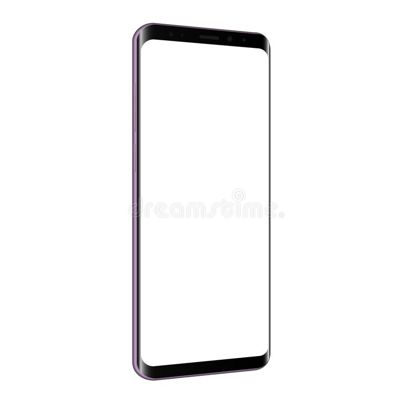 Cellphone mock up with blank screen - left perspective view. Frameless cellphone mock up with blank screen - left perspective view. Vector illustration stock illustration