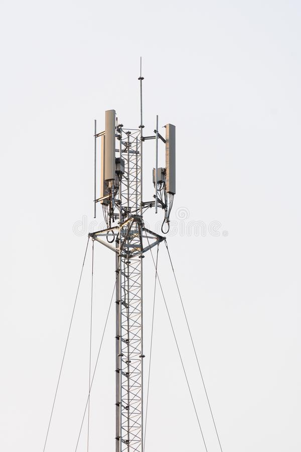 Telephone pole top. Cellphone and telephone pole top stock photos