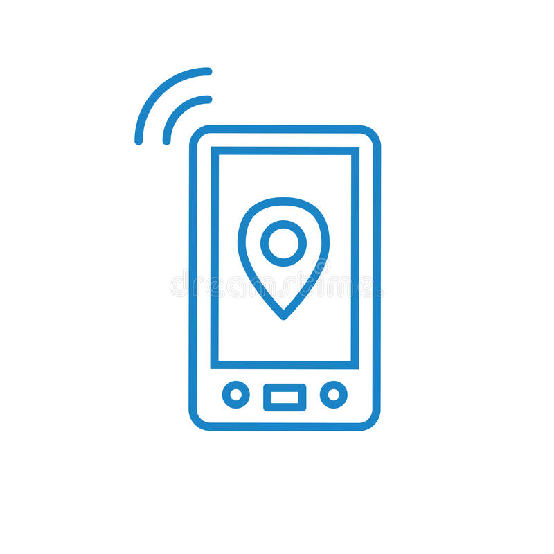 Cellphone tower icon with emitting pinging transmission waves royalty free illustration