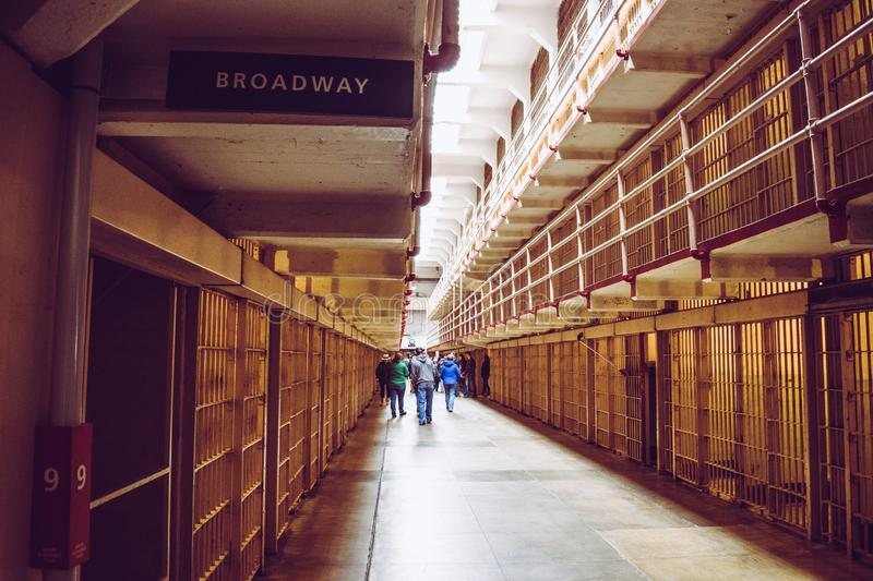 Cells of the Alcatraz Island, formerly a military prison and today a historic place that daily hosts tourists` visits. stock photo