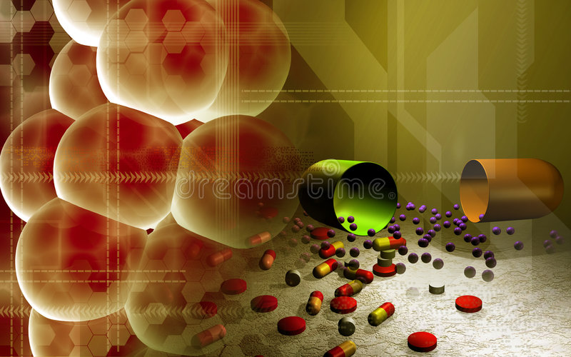 Cells and capsules. Digital illustration of cells and capsules vector illustration