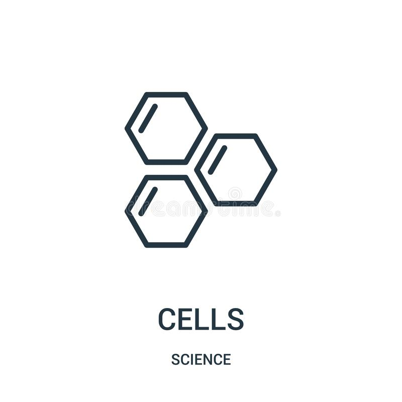 cells icon vector from science collection. Thin line cells outline icon vector illustration. Linear symbol vector illustration