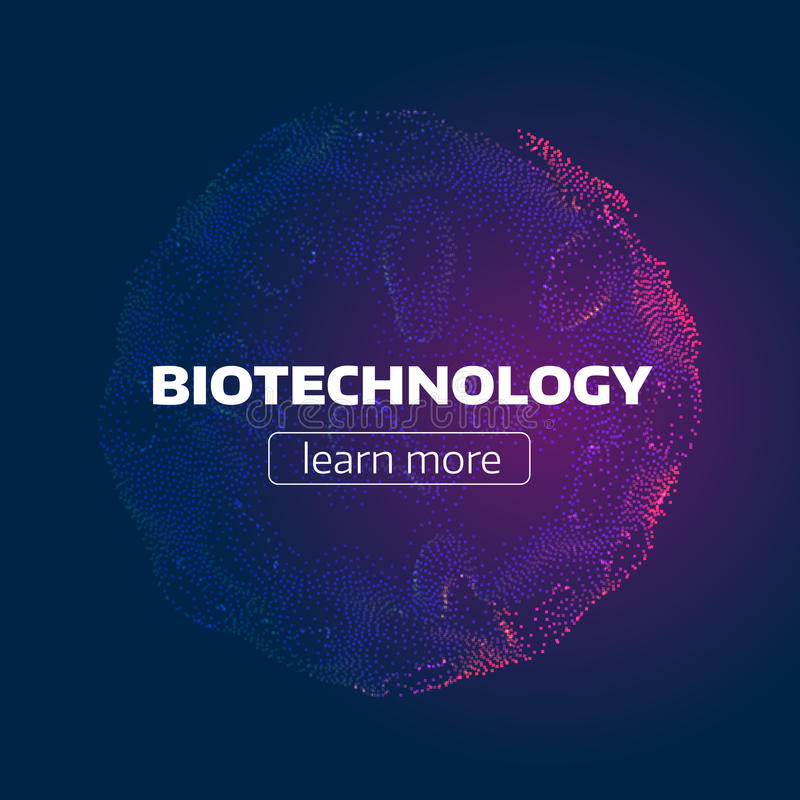 Cellula astratta di biotecnologia Griglia della particella Struttura organica fondo infographic futuristico illustrazione vettoriale
