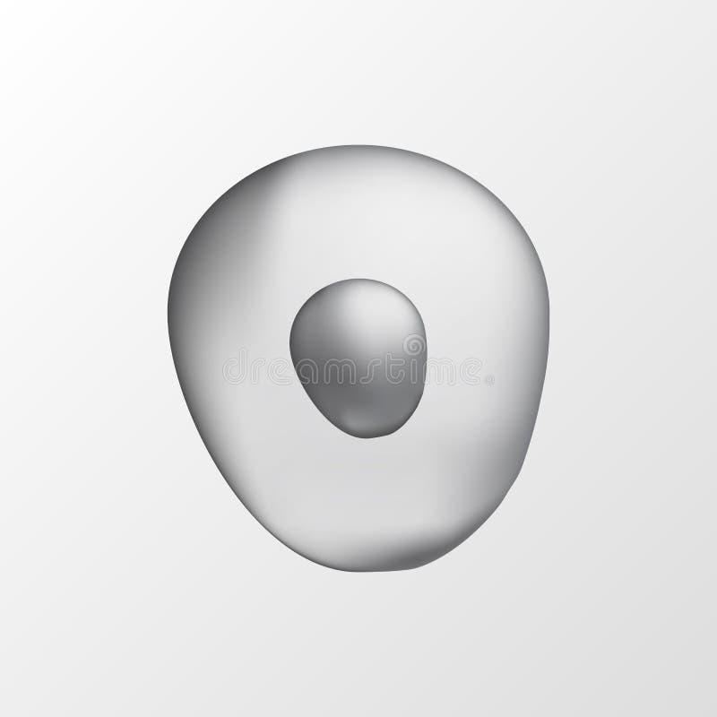 cellula grigia umana isolata 3d Illustrazione realistica Modello per medicina e biologia illustrazione di stock