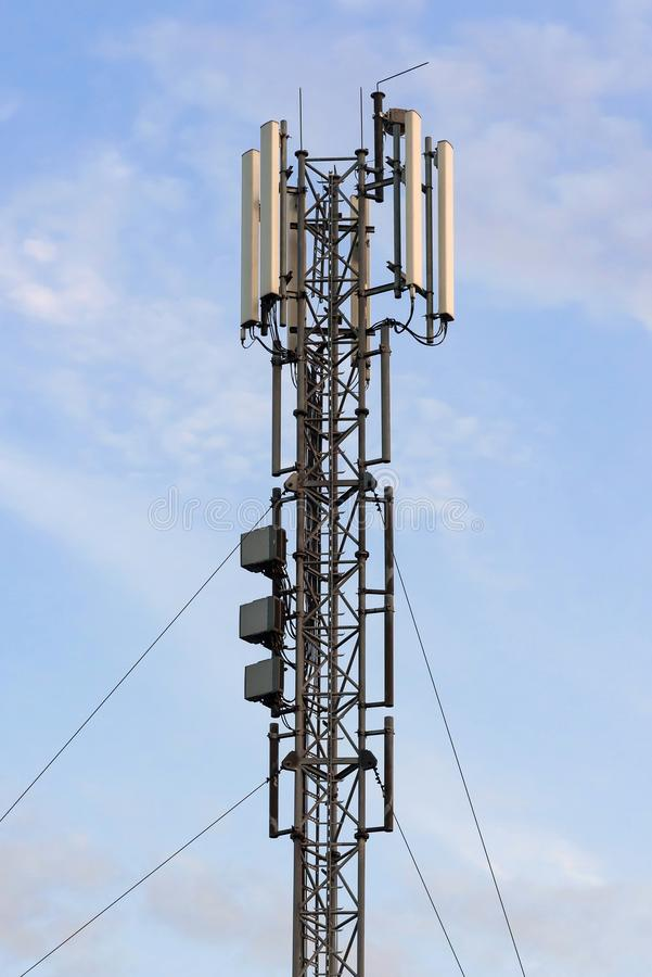 Cellular base station with panel antennas stock photos