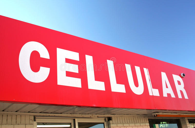 Download Cellular Sign On Convenience Store Stock Image - Image: 23267009