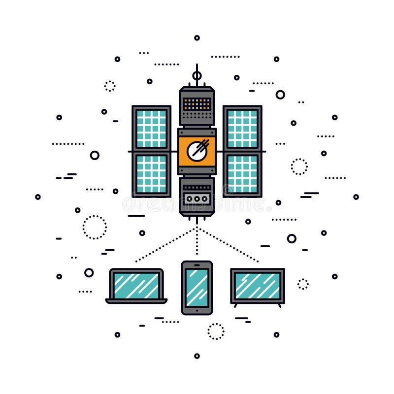 Cellular transmission line style illustration stock illustration