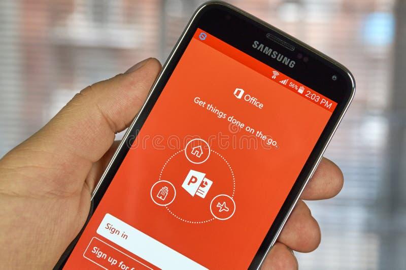 Cellulare app di Microsoft Office Power Point immagini stock libere da diritti