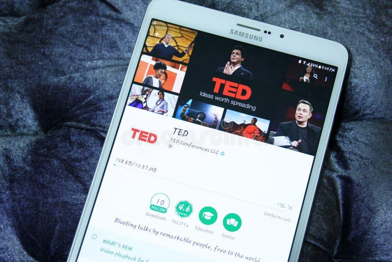 Cellulare app di TED Talks immagine stock