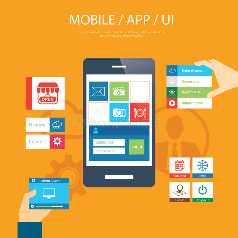 Cellulare app e progettazione piana dell'elemento di ui illustrazione di stock