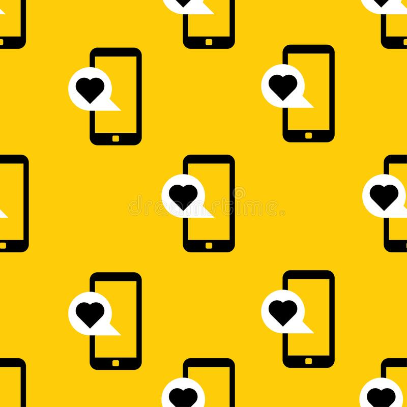 Cellulare con il modello del messaggio di amore royalty illustrazione gratis