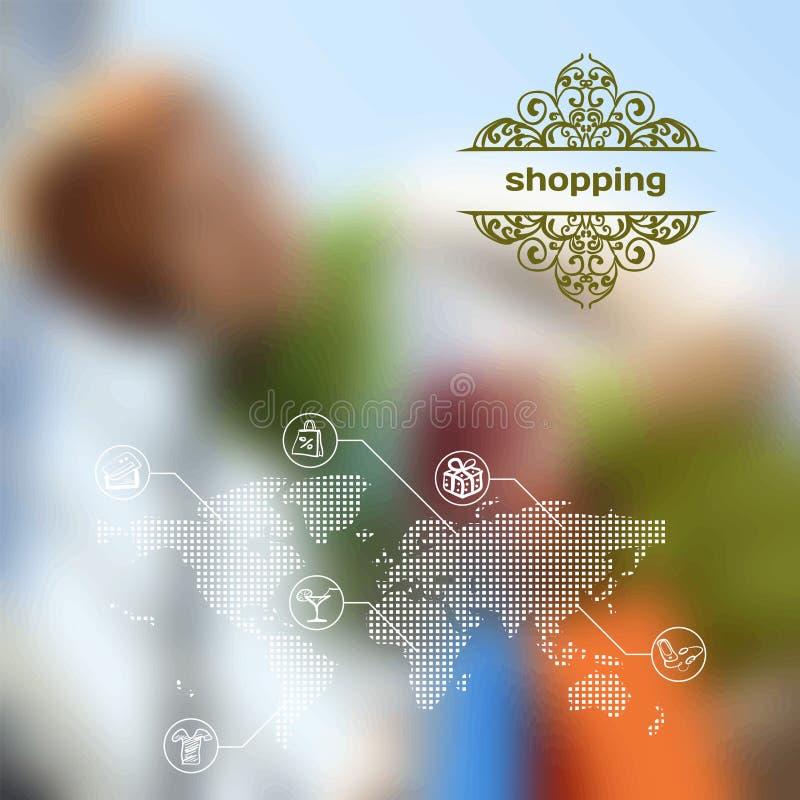Cellulare di vettore ed interfaccia di web con acquisto illustrazione di stock
