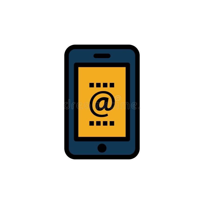 Cellulare, posta, identificazione, telefono, icona piana di colore Modello dell'insegna dell'icona di vettore royalty illustrazione gratis