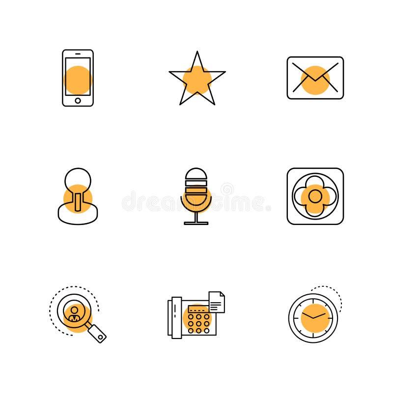 cellulare, stella, posta, mic, ricerca, telefono, orologio, ENV CI illustrazione di stock