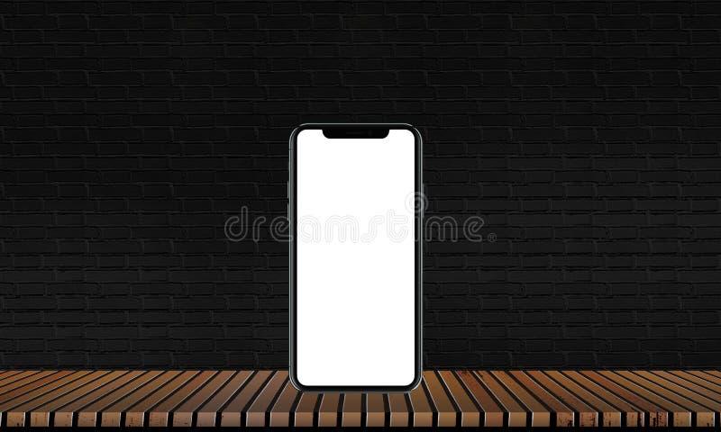Cellulare su un pavimento di legno con i pavimenti neri del mattone e legno solido per la decorazione interna royalty illustrazione gratis