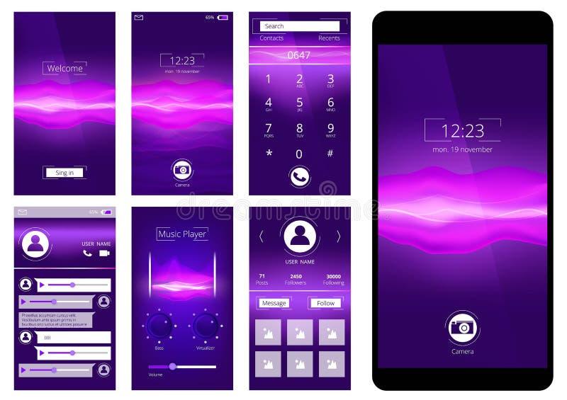 Cellulare UI L'interfaccia del modello di progettazione del app dell'applicazione dello smartphone abbottona il vettore del GUI royalty illustrazione gratis