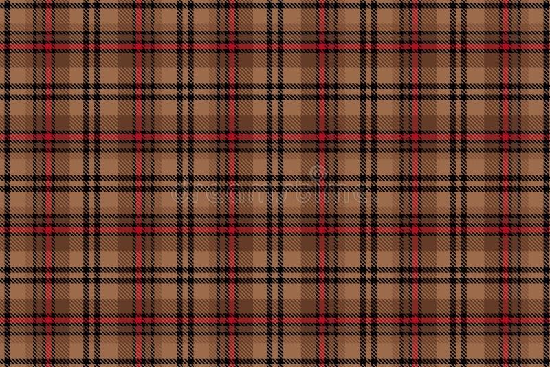 Cellule écossaise Modèle sans couture de cage de vecteur répétition Beige avec le fond brun illustration libre de droits