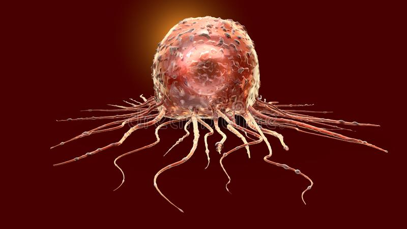 Cellule cancéreuse, médicalement illustration 3D illustration stock