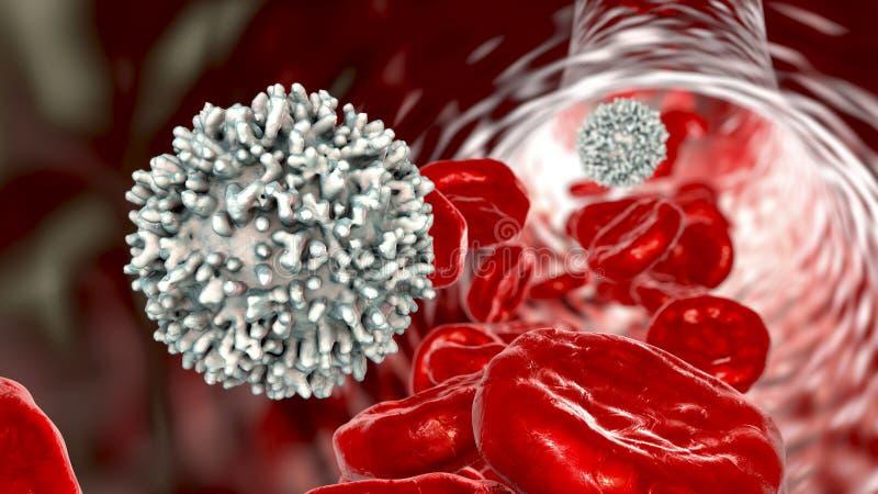 Cellule de lymphocyte à l'intérieur de vaisseau sanguin illustration de vecteur