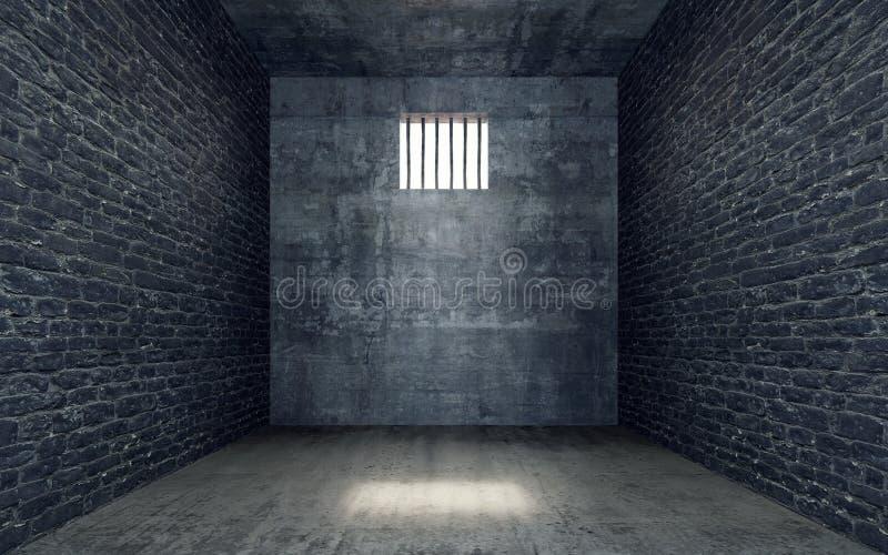 Cellule de prison avec briller léger par une fenêtre barrée illustration de vecteur