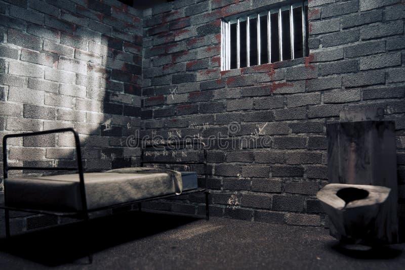 Cellule de prison foncée la nuit photo stock
