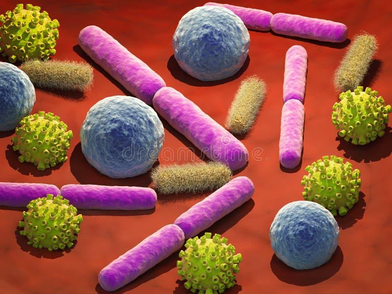 Cellule dei batteri e del virus in vena fotografia stock libera da diritti