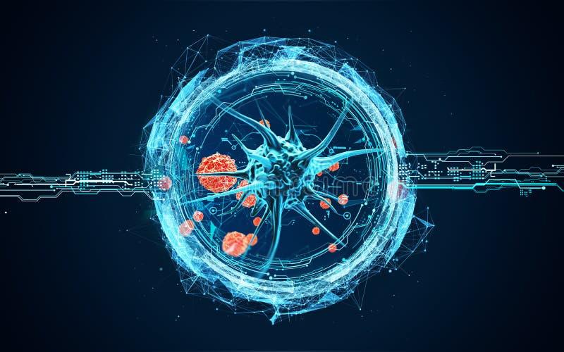 Cellule del virus sotto un microscopio illustrazione di stock